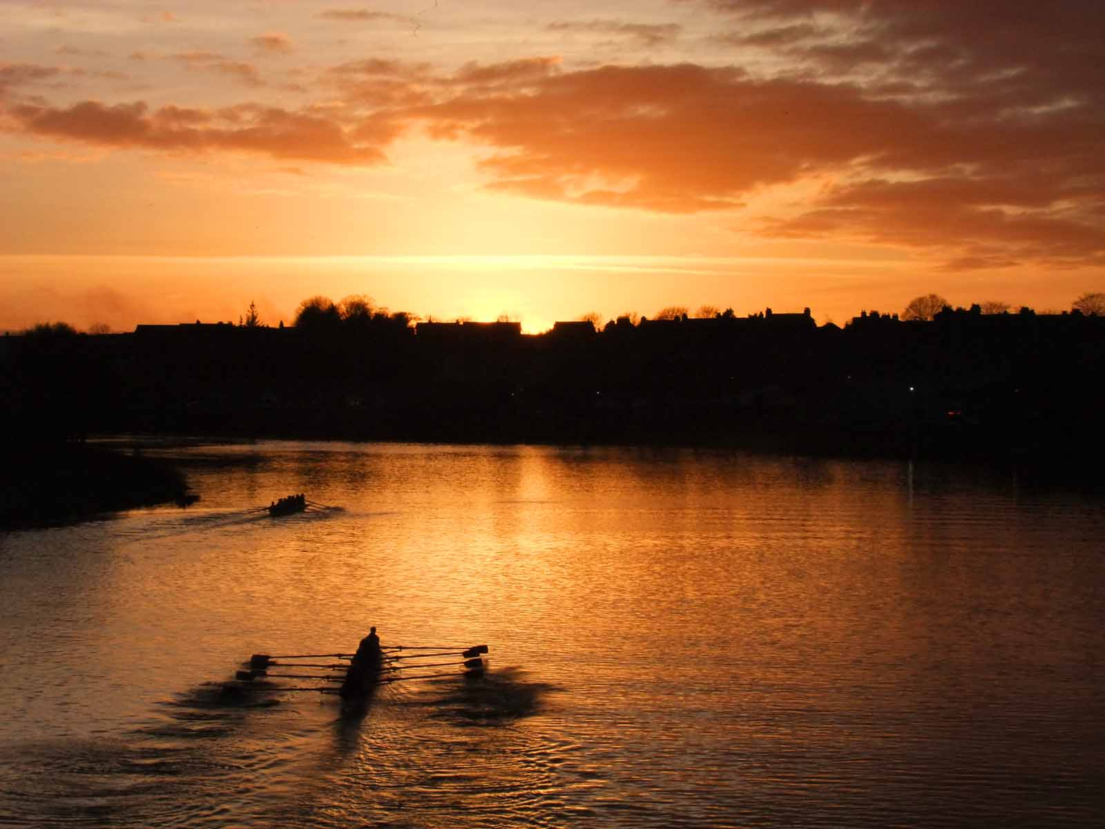 Rowers on the Dee at Dusk